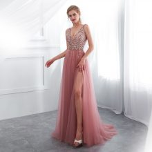 V neck Pink High Split Tulle Sweep Train Sleeveless Evening Gown A-line Lace Up dress