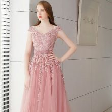 Pink Long Lace Evening Dress With Pearls