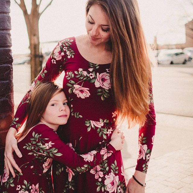 6e643cce85 Mother daughter dresses Wine Floral Long dress Family matching clothes