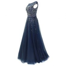 Formal Party Dress Shiny Beads Sequin Tulle Floor Length Long Prom Dresses