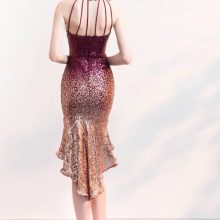 Halter Sequin  Short Front Long Back Sparkle Prom Party Dress