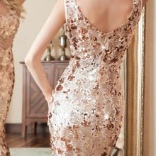 Luxury Gold Long Sequin prom gowns reflective dress