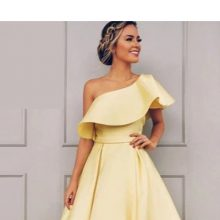 Yellow Plus Size  Long Satin Arabic African Prom Dress