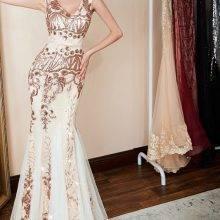 Luxury Gold Sequin prom dress