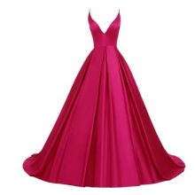 Satin Spaghetti Strap Long Gown Open Back Evening Party Dresses