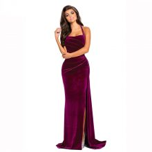 High Split Velvet Evening Gown Long Maxi Velvet Party Dress