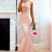 Halter neck long prom dress