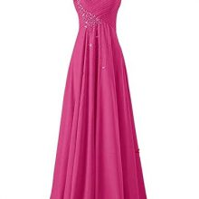 One-Shoulder With Crystals Evening Dress Long Chiffon Party Dress