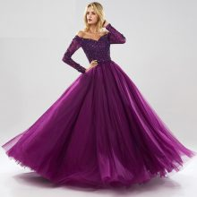 Long Sleeves Ball Gown Evening Dresses